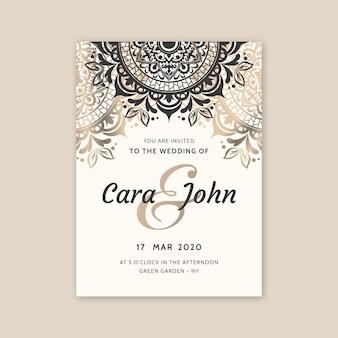 Concepto de invitación de boda de lujo