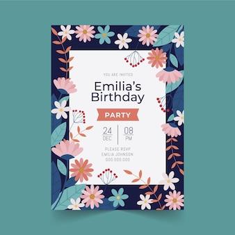 Concepto de invitación de cumpleaños floral