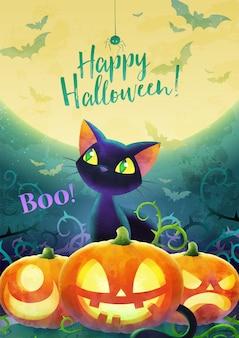 Concepto de invitación de feliz halloween. dibujos animados gato negro cara calabaza murciélago y araña en una luna y fondo verde. tarjeta de felicitación pancarta y póster. diseño de acuarela. ilustración. tamaño a4.