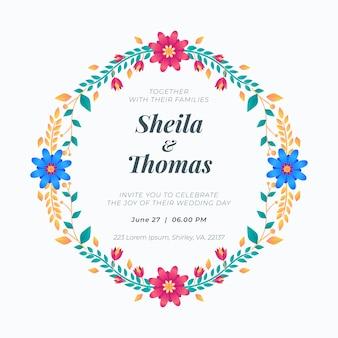 Concepto de invitación de marco floral de boda