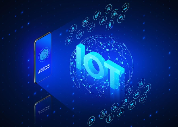 Concepto iot. internet de las cosas. monitoreo y control de teléfonos móviles de todo el sistema inteligente en casa.