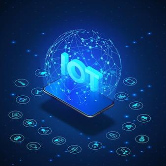 Concepto iot. internet de las cosas.