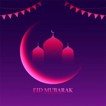 Concepto islámico festival eid mubarak con brillante luna creciente y mezquita, banderas del empavesado sobre fondo púrpura.