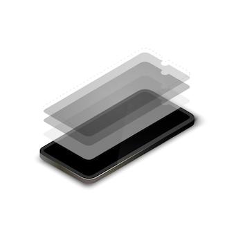 Concepto isomérico de capas de pantalla de teléfonos inteligentes.