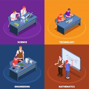 Concepto isométrico 2x2 de educación stem con diversas situaciones que involucran a estudiantes y maestros con subtítulos de texto