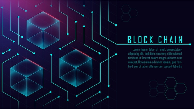 Concepto isométrico abstracto blockchain