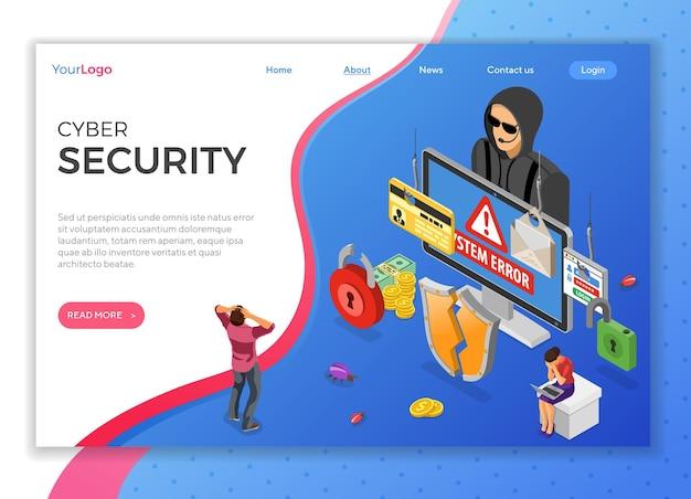 Concepto isométrico de actividad de hacker. piratería y phishing