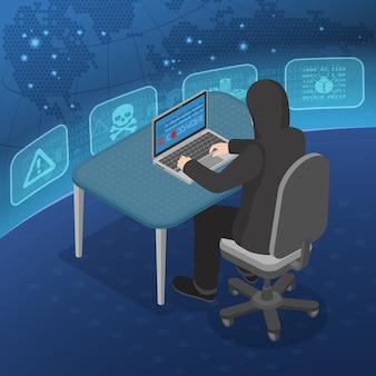 Concepto isométrico de actividad hacker