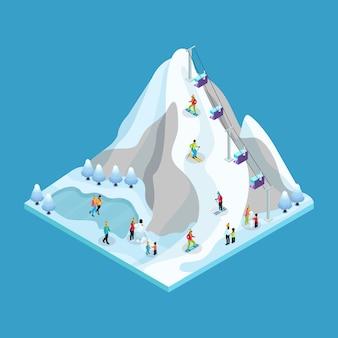 Concepto isométrico de actividad de ocio de invierno con personas y estación de esquí y snowboard aislado