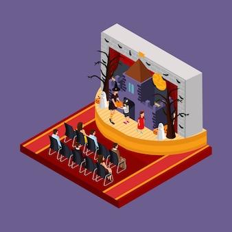 Concepto isométrico de actuación teatral de halloween con espectadores y actores murciélagos árboles de miedo castillo embrujado en el escenario aislado
