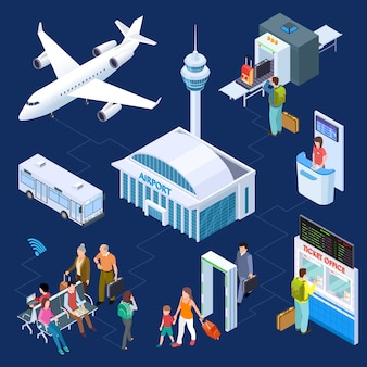 Concepto isométrico del aeropuerto. equipaje de pasajeros, terminal del aeropuerto, torre de control de pasaportes de avión