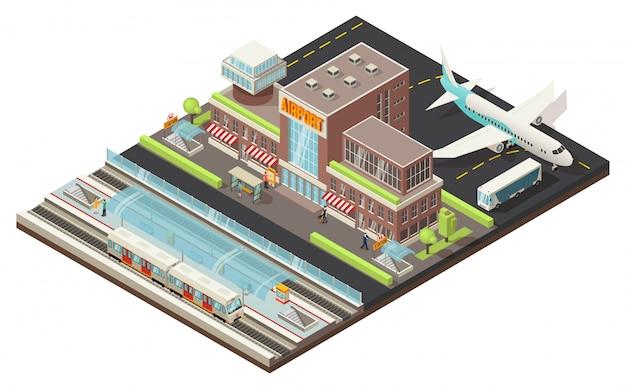 Concepto isométrico del aeropuerto y la estación de metro