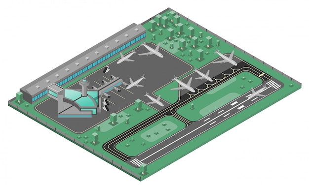 Concepto isométrico de aeropuerto