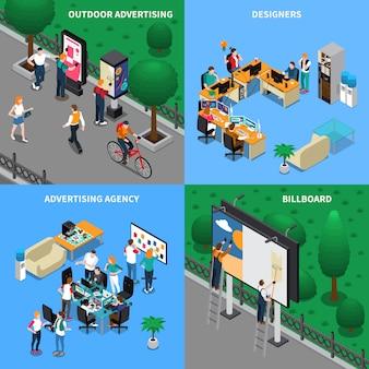Concepto isométrico de agencia de publicidad
