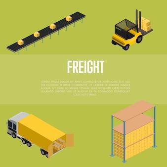 Concepto isométrico de almacenamiento de carga