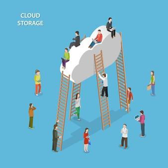 Concepto isométrico de almacenamiento en la nube
