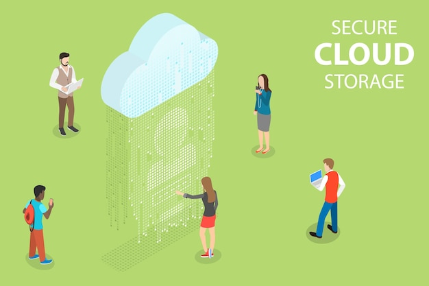 Concepto isométrico de almacenamiento seguro en la nube, big data, servicio informático en línea, sincronización de dispositivos móviles.