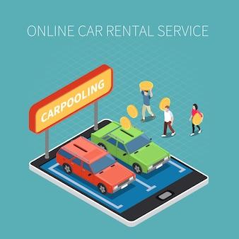 Concepto isométrico de alquiler de vehículos con símbolos de servicio en línea