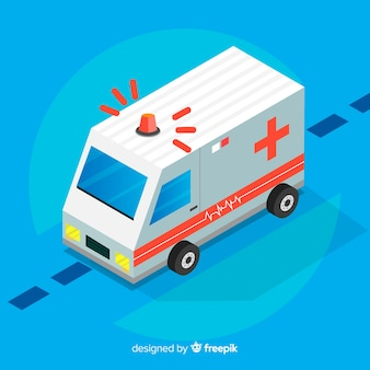 Concepto isométrico de ambulancia