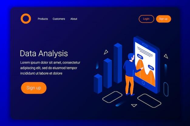 Concepto isométrico de análisis de datos. el analista mira los cuadros y gráficos. estilo plano 3d. plantilla de página de destino. ilustración.