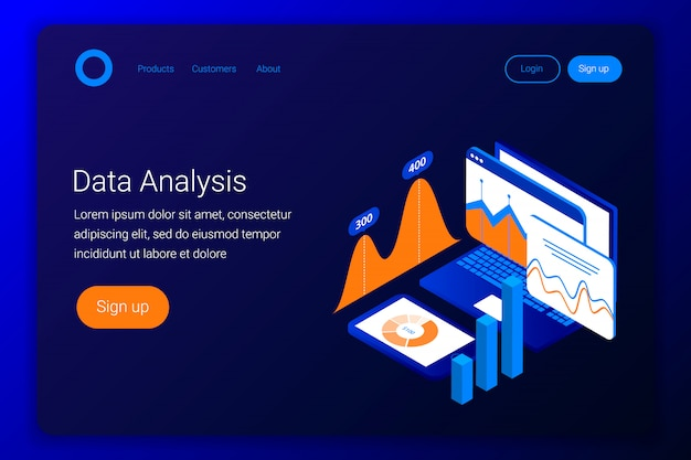 Concepto isométrico de análisis de datos. cuadros y gráficos en la pantalla de la computadora portátil y el teléfono inteligente. estilo plano 3d. plantilla de página de destino. ilustración.