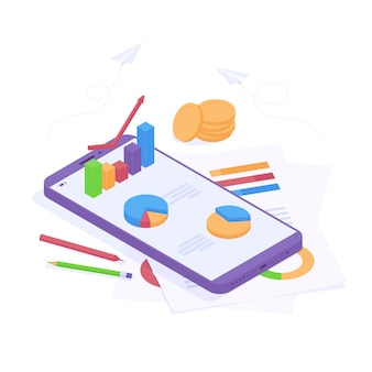 Concepto isométrico de análisis empresarial con gráficos en el teléfono móvil