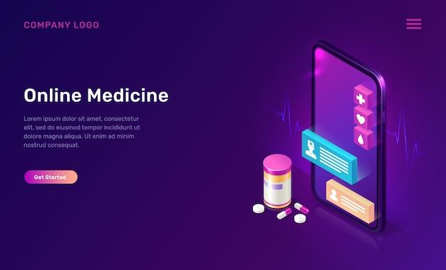 Concepto isométrico de la aplicación móvil de medicina en línea