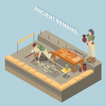 Concepto isométrico de arqueología con restos antiguos y símbolos de objetos