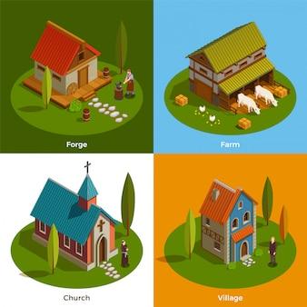 Concepto isométrico de asentamientos medievales
