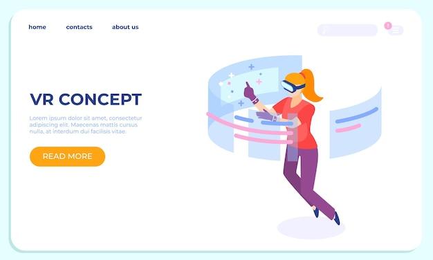 Concepto isométrico de aterrizaje de vr. los personajes de las mujeres jóvenes usan la tecnología. ilustraciones de innovación digital móvil de realidad virtual de vector