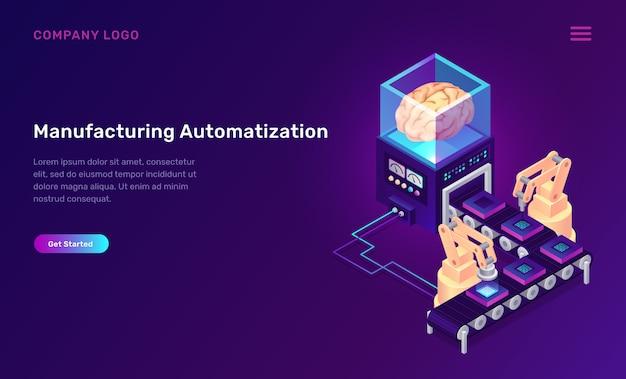 Concepto isométrico de automatización de fabricación