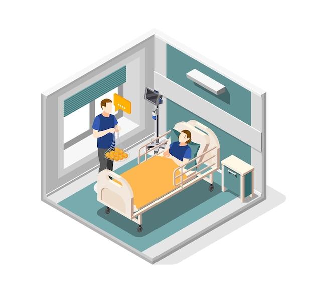 Concepto isométrico de ayuda mutua con ilustración de símbolos de asistencia médica
