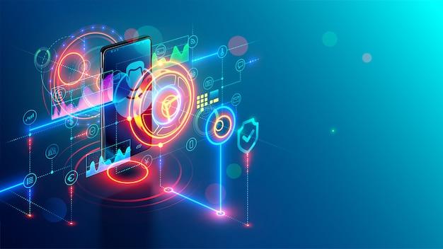 Concepto isométrico de banca móvil por internet. banco en línea por teléfono. la seguridad