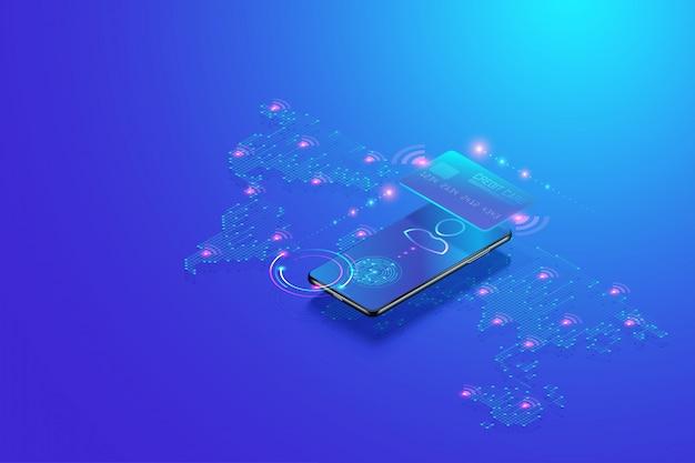 Concepto isométrico de banca móvil por internet. transacción de pago segura en línea con teléfono inteligente y pago digital