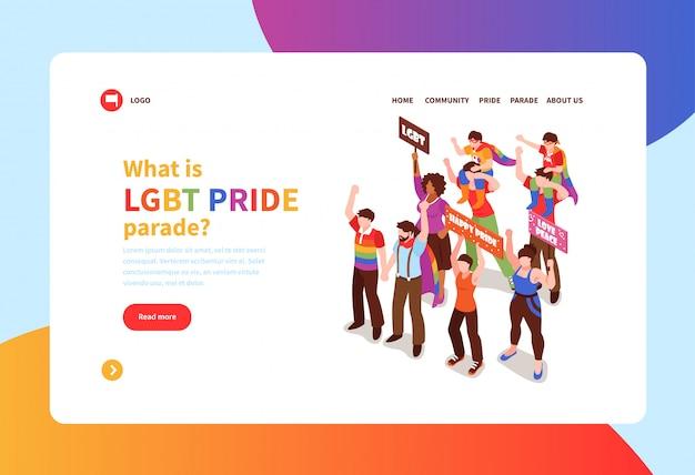Concepto isométrico banner con personas que participan en el desfile del orgullo homosexual 3d