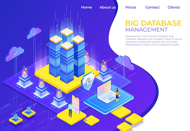 Concepto isométrico de base de datos. página de inicio de tecnología empresarial de servidor, página web de infografía empresarial