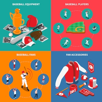 Concepto isométrico del béisbol