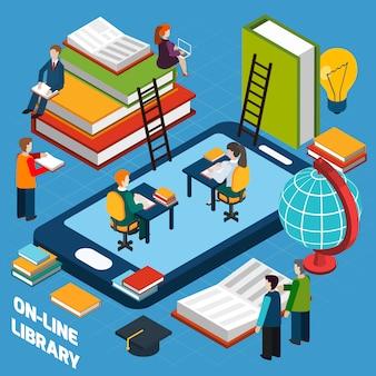 Concepto isométrico de la biblioteca en línea