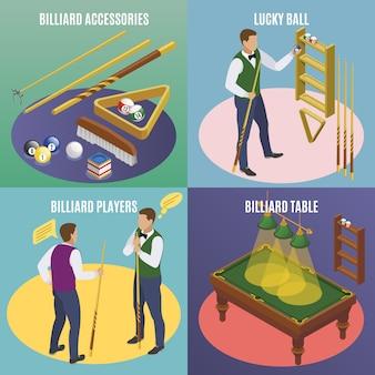 Concepto isométrico de billar 2x2 con texto editable e imágenes de accesorios de billar con bolas de la suerte