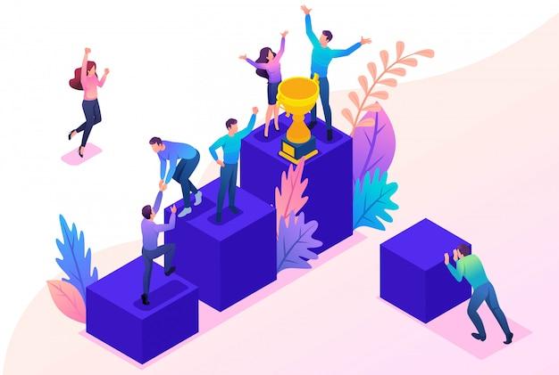 Concepto isométrico brillante exitoso equipo joven, movimiento ascendente.