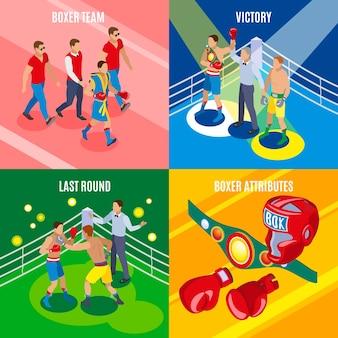 Concepto isométrico de caja 2x2 con equipo deportivo colorido y personajes humanos en uniforme