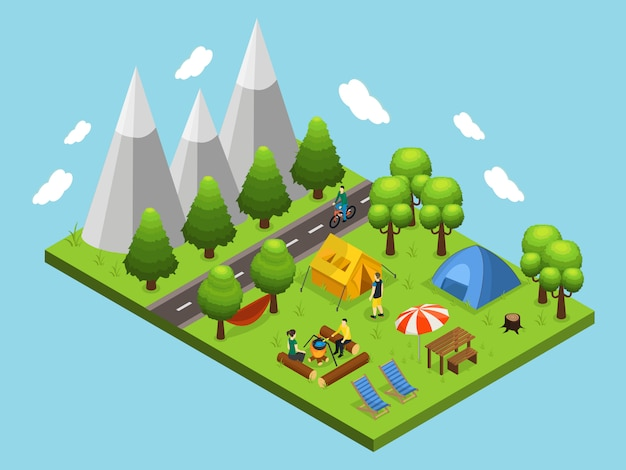Concepto isométrico de camping de verano