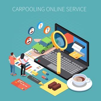 Concepto isométrico de carsharing y carpooling con símbolos de alquiler de vehículos