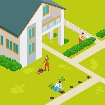 Concepto isométrico de casa rural y jardineros