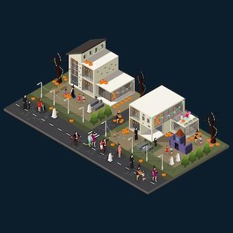 Concepto isométrico de celebración de vacaciones de halloween con casas, castillo, calabazas, lápidas y personas con diferentes disfraces aislados