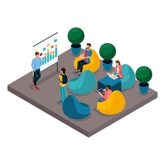 Concepto isométrico de centro de coworking