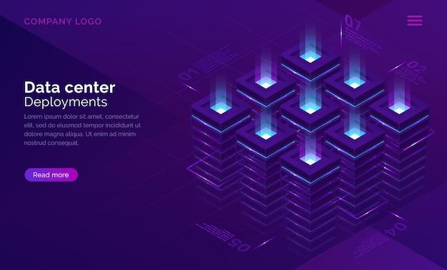Concepto isométrico del centro de fechas, sala de servidores