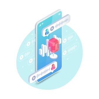 Concepto isométrico de chat de audio. ilustración de vector de chat de voz de redes sociales