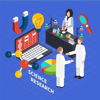 Concepto isométrico de ciencia