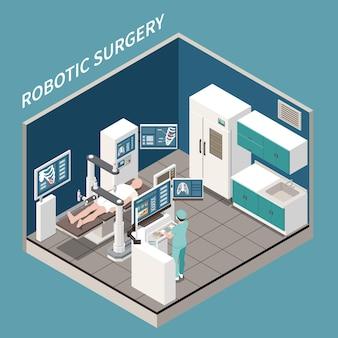 Concepto isométrico de cirugía robótica con ilustración de símbolos de tratamiento médico